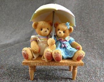 Cherished Teddies Carter and Elsie: We're Friends Rain or Shine Bears on Bench Figurine