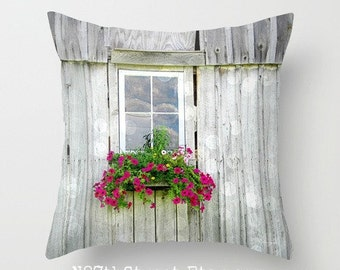 "WEATHERED BARN FLOWERS 16"" X 16"" Pillow Cover. Photo Art by TMCdesigns. Fuschia Petunias. Home Decor. Farm. Country. Summer. Nature. Rustic."
