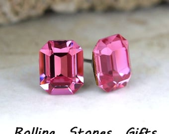 10x8mm Rose Swarovski Octagon Rhinestone Stud Earrings-Rose Crystal Octagon Studs-Pink Crystal Octagon Stud Earrings