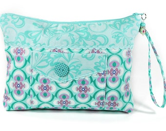 Teal Cosmetic Bag Zipper Wristlet Pouch