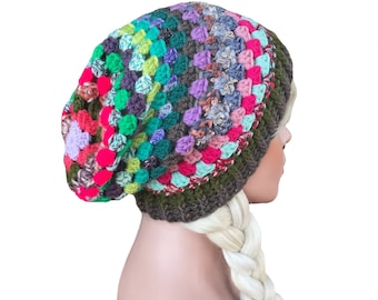 Slouchy Beanie Crochet Colorful