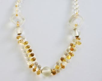 Antique Art Deco Clear and Gold Camphor Glass Geometric Bead Necklace