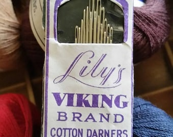 Lily, Darning Cotton, (12) Spools, (1) Needles, Vintage Lot, Excellent Quality, NOS, Notions, Lily Cotton, Sewing Room, Farmhouse Display.