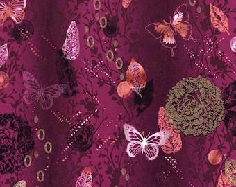 RJR Shiny Objects Maroon Purple Pink Gold Butterfly Leaf Fabric 3018-002 BTY