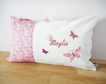 Custom cushion 50 x 30 cm, Liberty Mitsi Valeria Orchid rose applique name and butterflies, gift, birthstone list, girl, baby