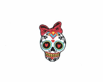 Sugar Skulls / Sugar Skull Patch / Skull Patch / Bow Sugar Skull Patch / Girly Skull / Girly Sugar Skull / Day of The Dead Patch