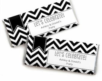 24 Chevron Black and White Custom Candy Bar Wrappers - Personalized Baby Shower,  Birthday Party, or Bridal Shower Favors