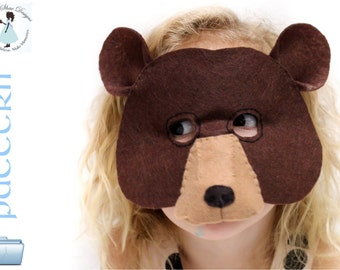 Kids Bear Mask PATTERN. Kids animal mask sewing pattern. // DIY Kids party mask.