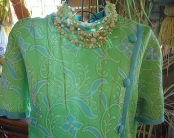 1960's Ladies Dress Workers Union Blue/ Green  Dress/ Short sleeve. Polyester