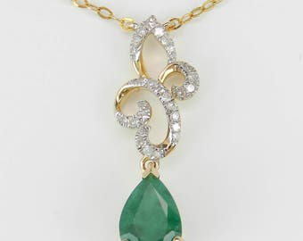 "Emerald and Diamond Drop Pendant 14K Yellow Gold Necklace 17"" Chain May Birthstone"