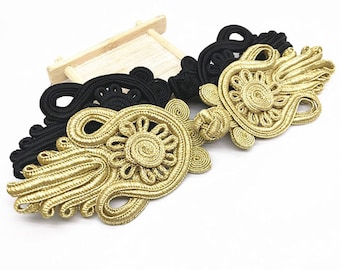 4 Pcs 7.87*2.36 Inches DIY Handmade Black/Gold Flower Chinese Cheongsam Frog Buttons For Tang Suits
