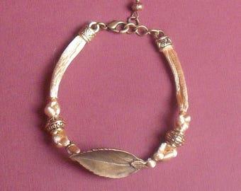 Chinese bronze string leaf bracelet