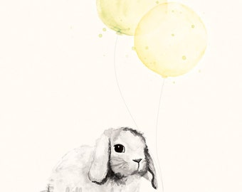 Yellow Nursery Art Decor -  8x10 / A4 Print for Baby Boy or Girl, Watercolour Illustration of Bunny Rabbit and Balloons