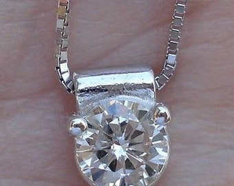 Half Carat Diamond Pendant Solitaire on a Chain 14K White Gold