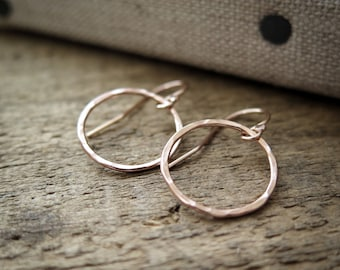 Rose Gold Circle Earrings Hammered Rings Rustic Simple