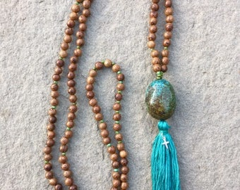 Mala- Christian Prayer beads- wood, turquoise, sterling silver cross