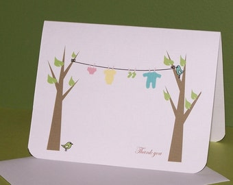 Baby thank you card, Personalized clothesline baby shower (set of 10)