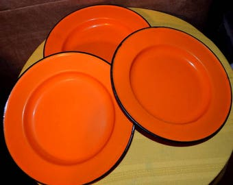 Set Of Three Orange Enamel Plates