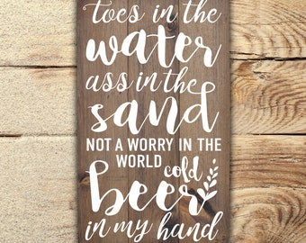 Toes In The Water Wood Beach Sign | Wood Sign | Country Song Sing | Toes In The Sand | Country Song Lyrics | Beach Decor | Zac Brown Band