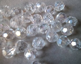 x 10 white quartz AB 8 mm faceted glass Crystal beads