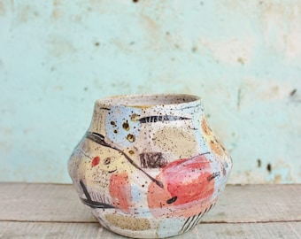 READY TO SHIP Ceramic Vase Contemporary Stoneware Storage Vessel Colour Textured Abstract Gestural Art  Spotty  Australian