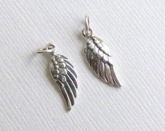 Sterling Silver Left and Right Tiny Angel or Wing Charms -- 2 Pieces