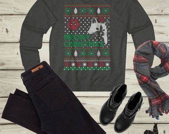 Meowy Christmas, Ugly Sweater, Cat sweater, Cat shirt, Cat Lady , Christmas Gift,ugly Christmas sweater, Christmas t shirt, Holiday sweater