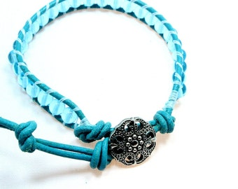 Turquoise Leather Wrap Bracelet, Single Wrap, Aqua Glass on Turquoise Leather, Boho Chic