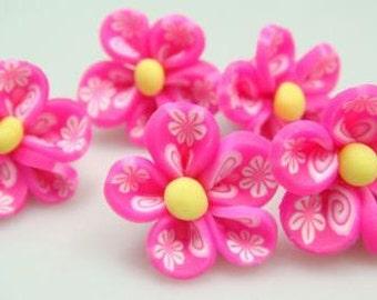 5 Piece Handmade Pink Clay Flower Bead Cabochons - Kawaii Decoden Flatback (TDK-C1419)