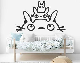 Totoro Kids Decal, Totoro Over Bed Sticker, Totoro Wall Decal, Kids Room Decal, Baby Room, Nursery Wall Decal, Bedroom Decal