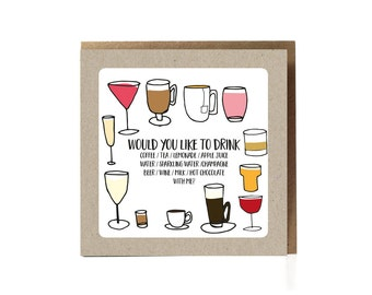 Would you like to have a drink with me, dating card, dating, funny cards for men, funny valentine card, boyfriend card, best friends card