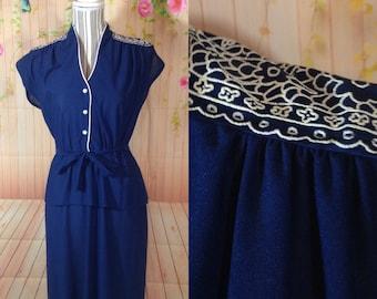 Vintage Blue and White Peplum Dress
