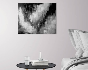 Fascination - Original Acrylic Abstract Painting Decor - Black and White