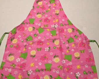 Pink flower childs apron