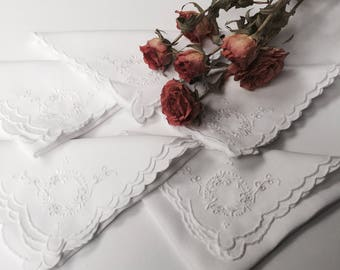 5 Vintage White Napkins with Hand Embroidery