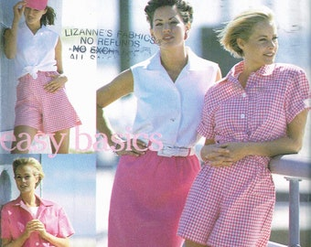 Size 10-16 Misses Sewing Pattern - Sleeveless Button Front Blouse - Pull On Shorts Pattern - Pull On Skirt Pattern - SImplicity 8298
