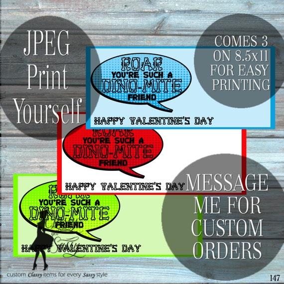 Dinosaur Valentine DIY printable, DINO-MITE Valentine Card-147
