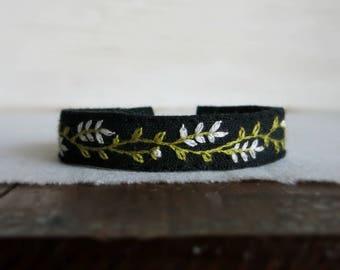 Black Floral Bracelet - White and Green Embroidered Botanical Design on Black Linen Cuff Bracelet