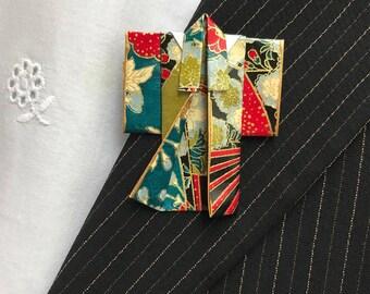 Origami Kimono Pin (dark fan)
