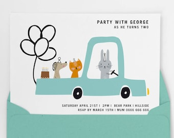 Boys party invite, boys first birthday party invitation, Printable party invitation, boys birthday invite, car invite