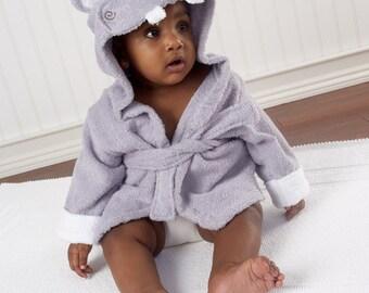 "Infant's Personalized ""Hug-alot-amus"" Hippo Hooded Spa Robe"