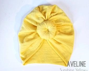 Yellow top knot turban