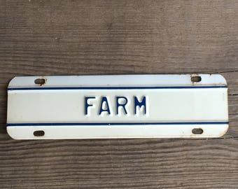 Vintage Metal Sign Farm Tag Blue & White