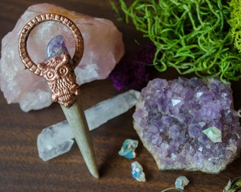 Owl, Amethyst & Antler Pendant-OOAK Unique Handmade Jewelry with an Eclectic, Hippie, Boho, Nature Vibe
