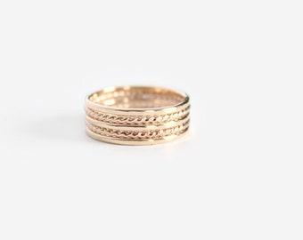 Or rempli d'empilage anneaux - bague fine et anneaux Twist - lot de 5