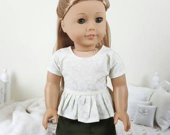 18 inch doll peplum shirt | olive green skirt