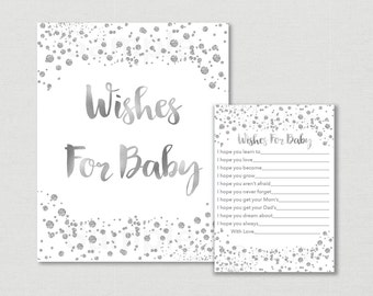 Silver Glitter Wishes for Baby Cards / Glitter Confetti / Silver Glitter / Silver & White / Wishes For Baby / INSTANT DOWNLOAD A157