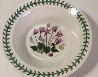 Portmierion Bowl, Botanic Garden, Vintage Bowl, Cereal Dish, Pink Flowers, Cyclamen Flower, Butterflies Decor, Welsh Ceramics