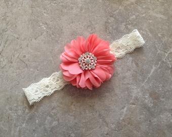Coral ivory headband, Baby Hair Bow, flower headband, baby headbands, shabby chic roses, lace headband, baby girl headband, hair bows- BL991