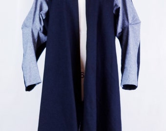linen, cotton, coat, jacket, two color, black, gray,